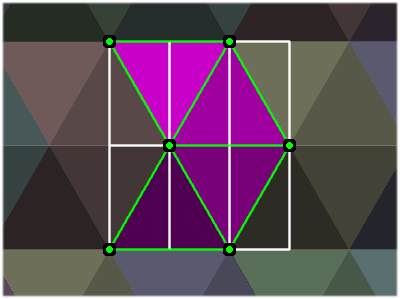 Triangular tiling point grid.